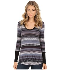 Splendid Snowbird Fair Isle Scoop Neck Slate Blanc Women's Sweater Multi