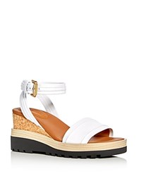 See By Chloe Robin Ankle Strap Platform Wedge Sandals White