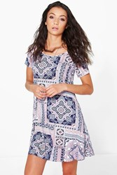 Boohoo Cleo Tile Print Swing Dress Multi