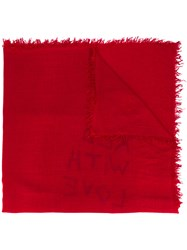 Ann Demeulemeester Printed Scarf Women Cashmere One Size Red