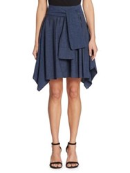 Halston Sash Flounce Skirt Dark Denim