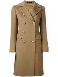 Tagliatore Double Breasted Mid Coat Brown
