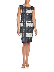 Lafayette 148 New York Sleeveless Chevron Textured Sheath Dress Smoke Blue