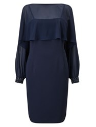 Jacques Vert Embellished Cuff Detail Dress Navy