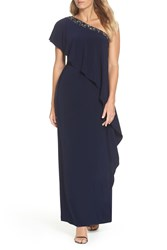 Vince Camuto One Shoulder Gown Navy