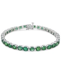 Macy's Emerald Tennis Bracelet 15 Ct. T.W. In Sterling Silver