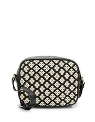 Kensie Floral Trimmed Faux Leather Crossbody
