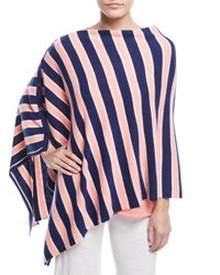 Minnie Rose Striped Cashmere Poncho Plus Size Tequila Sunrise