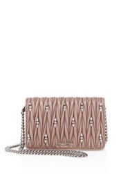 Miu Miu Matelasse Leather And Crystal Chain Wallet Cammeo Black