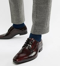 Dune Wide Fit Lace Up Derby Shoes In Burgundy High Shine Red