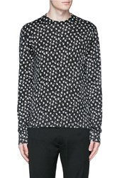 Dolce And Gabbana Floral Print Cashmere Silk Sweater Black