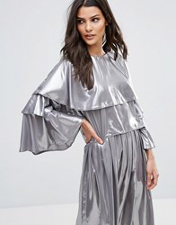 Love Layered Flute Sleeve Top Silver