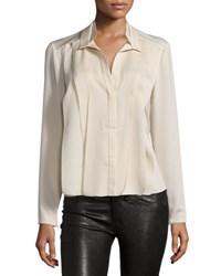 Halston Pleated Long Sleeve Blouse Buffs