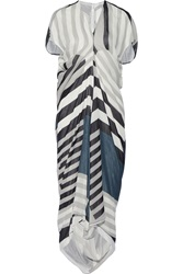 Rick Owens Printed Silk Chiffon Dress Gray