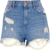 River Island Womens Denim Distressed High Waisted Shorts