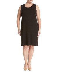Ming Wang Wrinkle Resistant Knit Shift Dress Brown