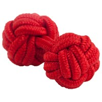 Thomas Pink Classic Knot Cufflinks Red