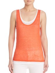 Saks Fifth Avenue X Majestic Filatures Double Layer Linen Scoopneck Tank Top Summer Sunset Carrare