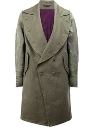 Ann Demeulemeester Curved Lapel Coat Green