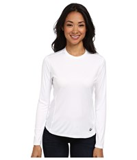 Hot Chillys Peach Solid Crewneck White Women's Long Sleeve Pullover