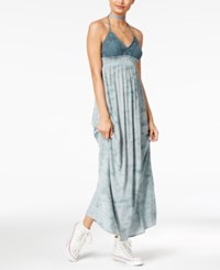 American Rag Crochet Printed Halter Maxi Dress Only At Macy's Blue Grey