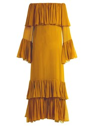 By. Bonnie Young Off The Shoulder Silk Chiffon Gown Dark Yellow