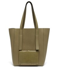 Lutz Morris Seveny Crocodile Effect Leather Tote Bag Khaki