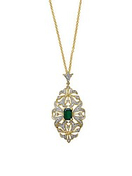 Effy Diamond Emerald And 14K Yellow Gold Scrollwork Pendant Necklace