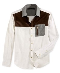 Sean John Men's Colorblocked Melange Shirt Sj Cream