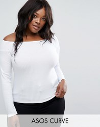 Asos Curve Off Shoulder Top In Rib White