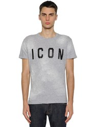 Dsquared Icon Printed Cotton Jersey T Shirt Grey Black