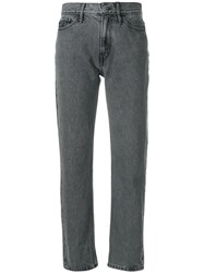 Ck Calvin Klein Jeans Cropped Straight Leg Jeans Cotton Grey