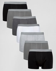 Asos Trunks In Monochrome With Grey Textured Waistband 7 Pack Monochrome Multi