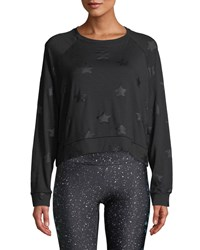 Terez Star Print Foil Cropped Crewneck Sweatshirt Black Pattern