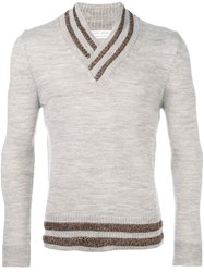 Marc Jacobs Metallic Stripe Jumper Nude And Neutrals
