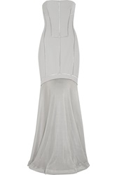 Amanda Wakeley Embroidered Faille And Open Knit Gown Gray