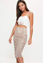Missguided Nude Printed Mesh Gathered Front Midi Skirt Multi
