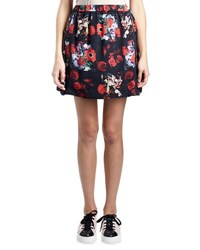 Kenzo Antonio Smocked Floral Silk Satin Skirt Red Multicolor