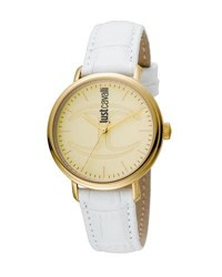 Just Cavalli 34Mm Cfc Stainless Steel Watch W Leather Strap White