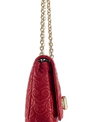 Shanghai Tang Cloud Quilted Leather Small Flap Handbag Red