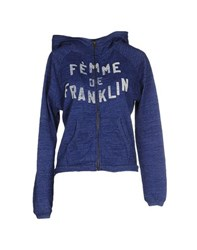 Franklin And Marshall Topwear Sweatshirts Women Blue