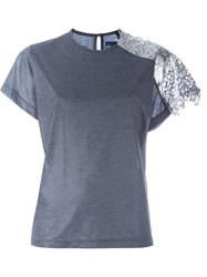 Kolor Lace Shoulder T Shirt Grey