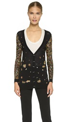 Prabal Gurung Beaded Cardigan Black