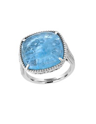 Effy 925 Sterling Silver And Milky Aquamarine Ring Blue