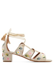 Tabitha Simmons Isadora Embroidered Linen Sandals Cream Multi