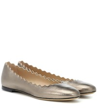 Chloe Lauren Leather Ballerinas Silver