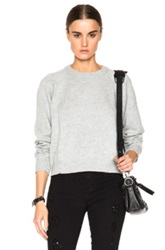 T By Alexander Wang Cashwool Crew Neck Crop Sweater In Gray