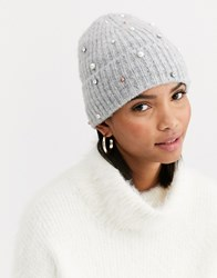 Accessorize Pearl Knitted Beanie In Grey