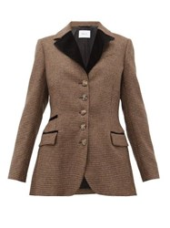 Racil Curtis Single Breasted Houndstooth Wool Jacket Brown