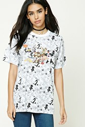 Forever 21 Looney Tunes Graphic Tee White Black